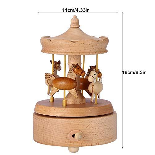 Caja Musical Caja De Música De Elevación De Madera Carrusel Caja De Música Exquisita Artesanía De Cumpleaños Decoración del Hogar