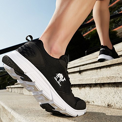 Camel Zapatillas Running para Hombre Aire Libre y Deporte Transpirables Casual Zapatos Gimnasio Correr Sneakers(47 EU,Negro)
