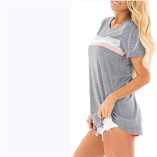 Camiseta A Rayas De Verano para Mujer, Cuello Redondo Cosido De Estilo Casual, Manga Corta, Tops De Mujer Sencillos Y Cómodos.