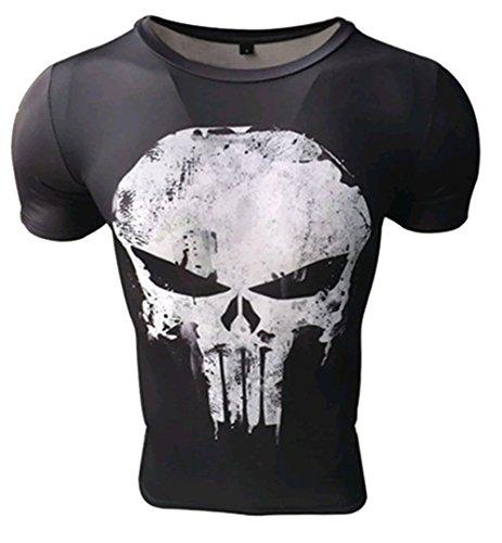 Camiseta compresiva Hombre de Licra para Deporte. Manga Corta ceñida de Licra. (Castigador) - XL