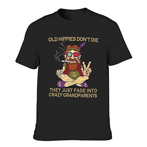 Camiseta de cuello redondo para hombre, divertida, hippie antiguo, estampado vintage, ropa para el día a día negro M