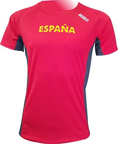 Camiseta Deportiva Manga Corta EKEKO Marathon, Camiseta Hombre Fabricada en Poliester microperforado, Running, Fitness y Deportes en General. (XXL, ESPAÑA ROJA)