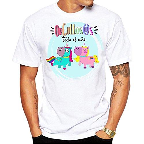 Camiseta Hombre Orgullos@s Todo el año. Camiseta Dia del Orgullo Gay LGTB. Pride Madrid Chueca. Camiseta Entallada para Celebrar el día. (m)