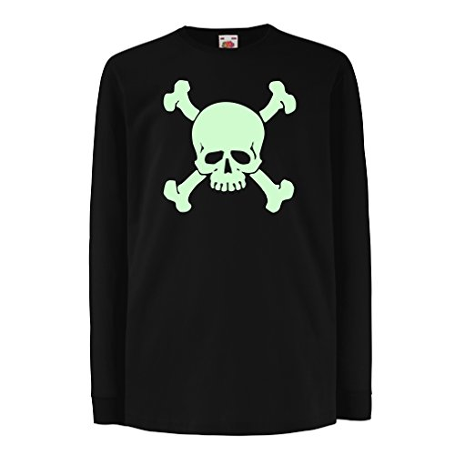 Camisetas de Manga Larga para Niño Calavera y Tibias Cruzadas, señal de Advertencia - No Tocar (9-11 Years Negro Fluorescente)