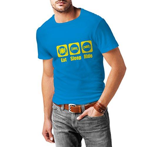 Camisetas Hombre Eat - Sleep - Ride, Regalo para Motociclistas Ropa de Moto (Large Azul Amarillo)