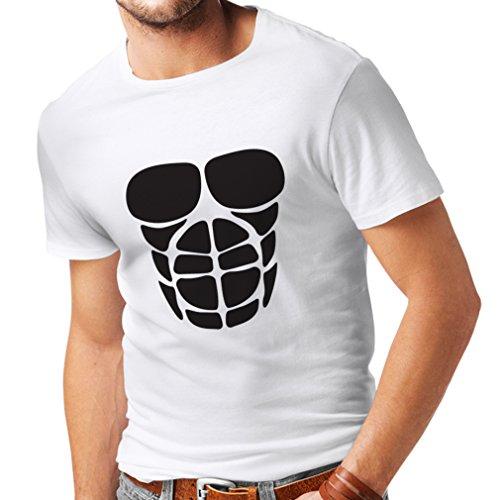 Camisetas Hombre para su Crecimiento del músculo - Camisetas Divertidas del Entrenamiento (X-Large Blanco Negro)