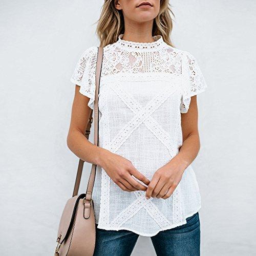 Camisetas Mujer SHOBDW Dia de la Mujer Verano Patchwork De Encaje Casual Ahuecar Volantes Manga Corta Suéter De Cuello De Tortuga Linda Blusa Floral Camiseta Blanca para Mujer(Blanco,S)