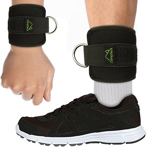 CampTeck U6831 Tobillera Fitness Muñequera Deportiva Neoprene Ajustable Ankle Straps Wrist Wraps Gym Anillo para Máquina de Cable Entrenamiento Gimnasio Piernas Glúteos y Abdominales - Negro, 1 Par