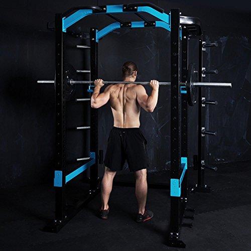 Capital Sports Amazor Jaula de sentadillas, multifuncional, soportes de seguridad con apoyos de goma, barra con empuñaduras para dominadas, estructura de acero termolacado, Amazor P