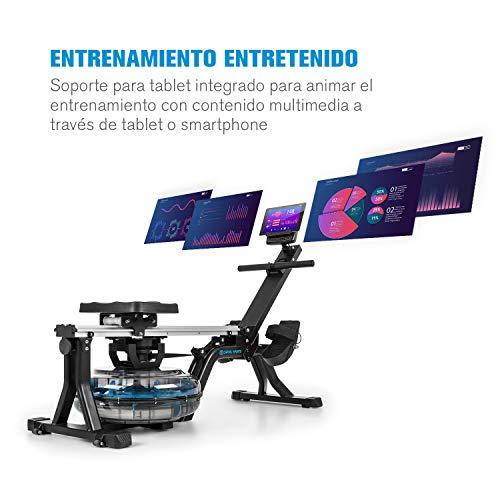 Capital Sports Flow - Máquina de Remode Agua, Banco de Remo, 80 cm de Largo, Ordenador con Pantalla LCD, Soporte para tabletas, Aluminio y Acero, 8Niveles/máx. 13 litros, Negro/Plateado