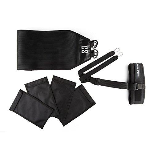 CAPITAL SPORTS Grindor Power Sled Trineo arrastre (40 kg máx, correas 4 sacos ajustables, cinturón abdominal, superficie tracción caucho) - Negro