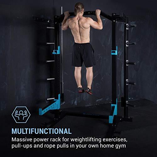 CapitalSports Amazor Basic - Jaula de musculación Multifuncional, hasta 500 Kg, J-Cups para 350 kg, Barra de dominadas para 150 Kg, Ajustable, Acero Revestido en Polvo, Viga de 60 x 60 x 2 mm, Negro