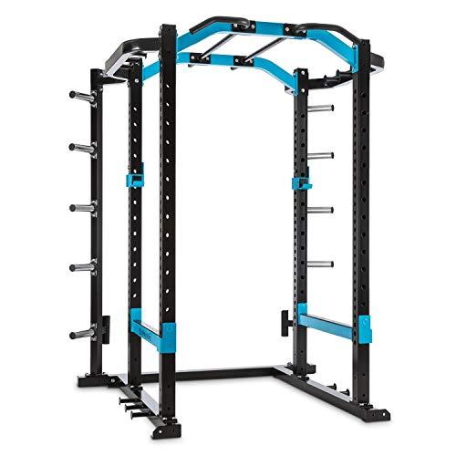 CapitalSports Amazor Pro - Jaula de musculación Multifuncional, hasta 500 kg, J-Cups para 350 kg, Monkey Bars para 200 kg, Barra de dominadas para 150 kg, Ajustable, Acero Revestido en Polvo, Negro