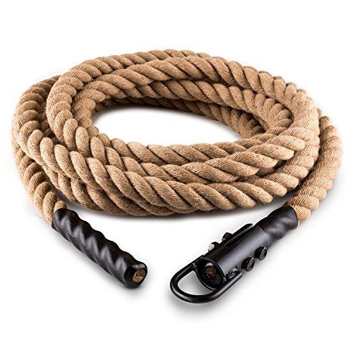 CapitalSports Capital Sports Power Rope H6 Cuerda de Batalla con Gancho (6m 3,8cm, Cuerda cáñamo, Entrenamiento Funcional Fitness)