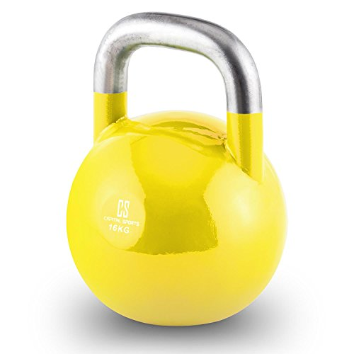 CapitalSports Compket 16 Pesa Rusa de competición (16kg Peso, Bola de Acero, Mango Suave, Base alisada, Adecuado para Uso al Aire Libre, indicador de Kilos, Kettlebell Color Amarillo)