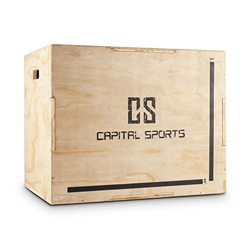 """CapitalSports Shineater Caja de Salto pliométrica (3 Alturas de 20"""", 24"""" y 30"""", de Madera de 11 Capas, Apta Gimnasio Profesional o Entrenamiento al Aire Libre) - Madera"""
