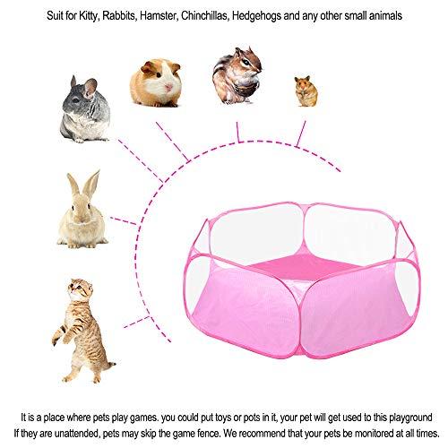 Carpa de jaula de C&C de animales pequeños, cerca de ejercicio transpirable y transparente para mascotas, cerca de patio portátil para cobayas, conejos, chinchillas y erizos