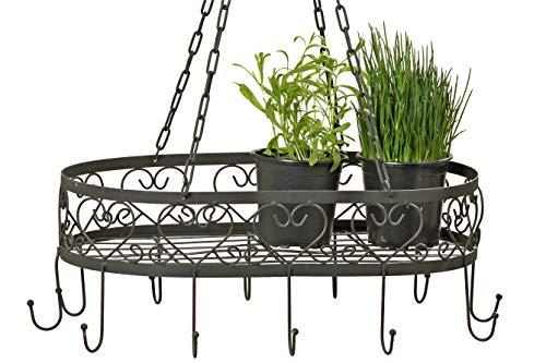 CasaJame - Estantería colgante para utensilios de cocina, colgador de techo, colgador de hierbas, estante negro hierro L78 cm B50 cm H30 cm