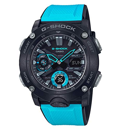 Casio G-SHOCK Reloj Analógico-Digital, Carbonífero, 20 BAR, Azul/Negro, para Hombre, GA-2000-1A2ER