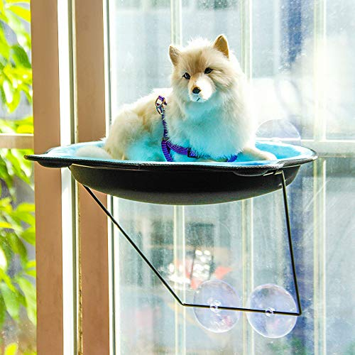 Catkoo Cama De Hamaca para Gatos, Ventosas De Montaje En Ventana, Ventosas, Cama Caliente, Casa De Descanso para Mascotas, Cama De Sol, Jaula Blanda Rosado