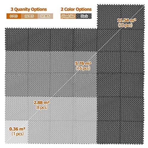 CCLIFE Esterilla Puzzle de Fitness 60x60x1cm 30x30x1cm Suelo de Gimnasio de Goma Espuma EVA, Color:Negro 16pcs