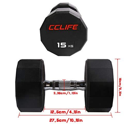 CCLIFE Mancuernas dodecágono de Pesas de Goma Hex Dumbells 10kg-30kg, Color:15 KG, Menge:1 pz