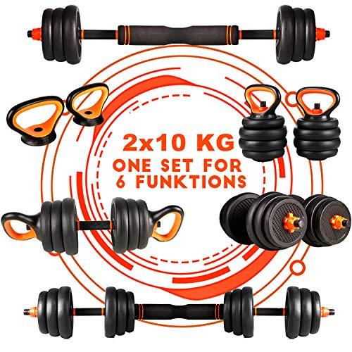 CCLIFE Pesa Rusa Mancuernas Ajustables con Pesa Barra 2x10KG,2x12,5KG,2x20KG, Color:Mit Verbindungsrohr, 2x10 KG