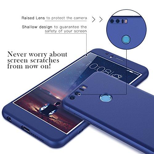 CE-Link Funda para Huawei Honor 8 Rigida 360 Grados Integral, Carcasa Honor 8 Silicona Snap On Diseño Antigolpes Choque Absorción, Honor 8 Case Bumper 3 en 1 Estructura - Azul