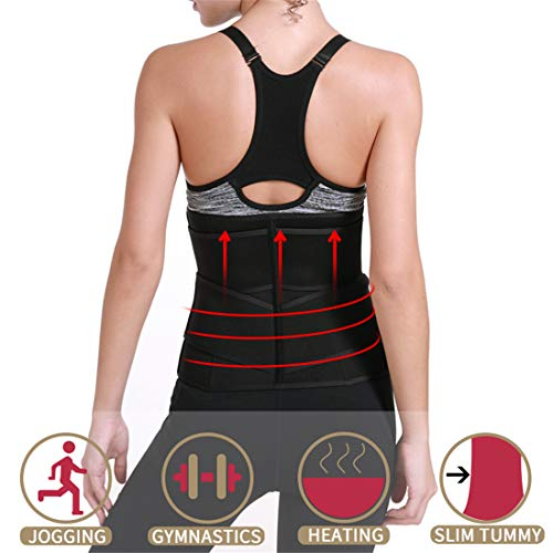 Chaos World Corsé Underbust Mujer Entrenador de Cintura Faja Moldeadora Cintura Alta Adelgazante Plásticos Tirantes Ajustables (Negro con Tres Cinturones, XL/Busto 86.5-93cm)