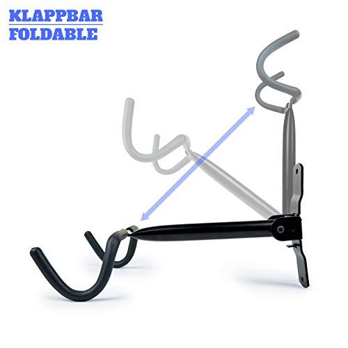 Charles Daily Soporte Bicicletas Pared Plegable - Colgador de Bici para Pared con Protección del Cuadro - Ganchos para Colgar Bicicletas - Negro