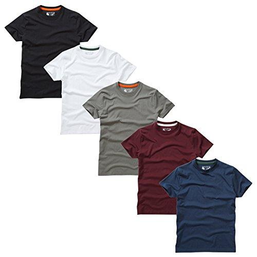 Charles Wilson Paquete 5 Camisetas Cuello Redondo Lisas (Large, Essentials)