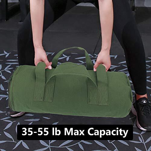 CHENGYI Entrenamiento Heavy Duty Bolsas de Arena para la idoneidad, Aptitud Funcional, Cross-Training Ejercicio y Crossfit con Pesas Ajustable CYTN01 (Verde Militar)