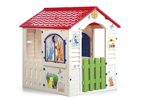 Chicos - Country Cottage Casita Infantil de Exterior, Color Beige con tejado Rojo (La Fábrica de Juguetes 89607)