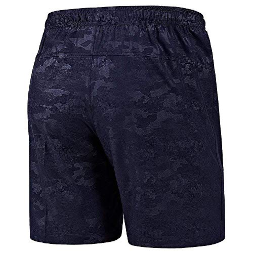 CHYU Men Summer Shorts Sports Gym Shorts for Men Training Shorts with Zip Pocket Lightweight Quick Drying for Outdoor Physical Exercise (Azul, L)