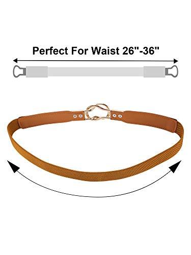 Cinturón Flaco de Mujeres Banda Elástica de Cintura Retro Correa Elástico de Broche de Metal para Vestido (5, Negro Marrón Rojo Blanco Azul)