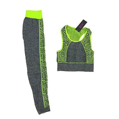 Cisne 2013, S.L. Conjunto de Ropa de Entrenamiento Deportiva para Mujer, Ropa para Yoga, Gimnasio, Running. Parte Superior Chaleco y Mallas Ajustadas fit. Talla Unica (S-L) Espiral Color Verde.