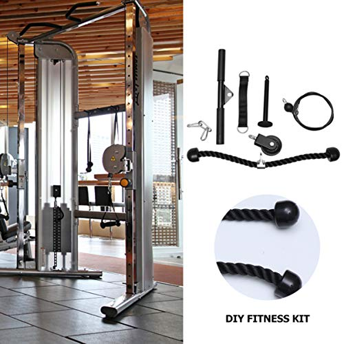 CLISPEED Fitness Polea Set Tricep Bicep Pull Rope Heavy Duty Arm Strength Ejercitador DIY Equipo de Entrenamiento para Mujeres Hombres Principiantes
