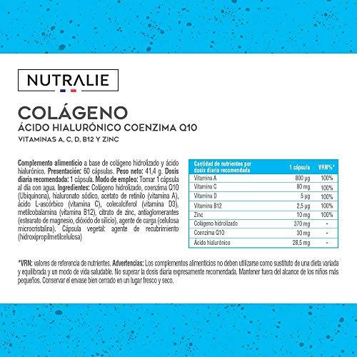 Colágeno + Ácido Hialurónico + Coenzima Q10 + Vitaminas A, C, D y B12 + Zinc   Energía y Articulaciones Fuertes   Colágeno Hidrolizado en 60 cápsulas   Nutralie