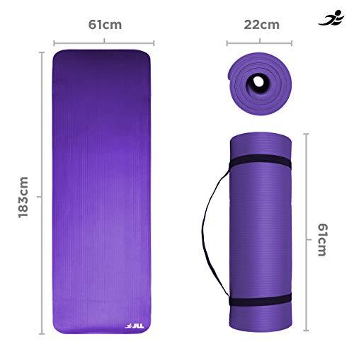 Colchoneta para yoga JLL® extra gruesa de 15mm, colchoneta antideslizante, para pilates, entrenamiento y ejercicio disponible en color negro, azul, púrpura, rosa, verde y rojo. También es ideal para usar como colchoneta para acampar., morado