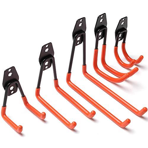 Colgadores de Bicicletas pared Soportes para Colgar Bicicletas Ganchos Escalera Ferretería, Heavy Pesado Colgadores para Garaje con Montaje en Pared Soporte para Escalera Storage (5 Pieze - Naranja)