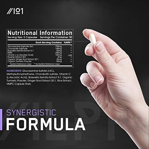 Complejo de glucosamina y condroitina - con MSM, Boswellia, escaramujo, jengibre y cúrcuma - 90 cápsulas