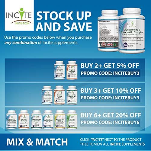 Complejo de Glucosamina y Condroitina con MSM - Vitamina C Zinc - Jengibre - Curcumina de Cúrcuma   120 cápsulas de primera calidad   Hecho en el Reino Unido por Incite Nutrition®.