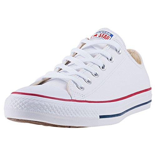 Converse Chuck Taylor Core Lea Ox, Zapatillas De Cuero Unisex Adulto, Blanco, 39.5 EU