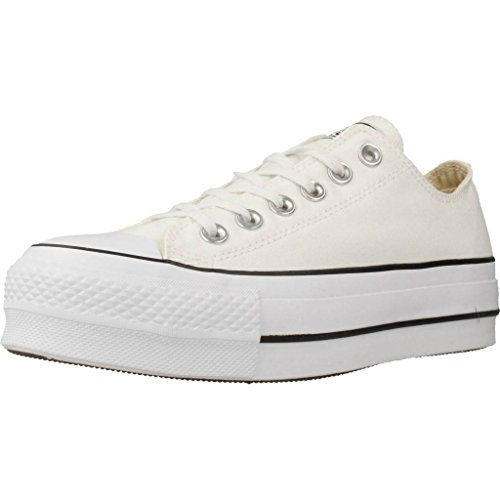 Converse Chuck Taylor CTAS Lift Ox Canvas, Zapatillas para Mujer, Blanco White Black White 102, 39 EU