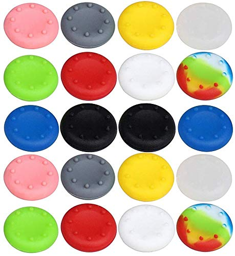 Coollooda para PS3, PS4, Xbox 360, Xbox One Cubiertas Cubierta Protectora de Barra 22 mm de diámetro Tapas de Agarre de Pulgar Paquete de 20 Colorido Tapa de empu?aduras de Pulgar