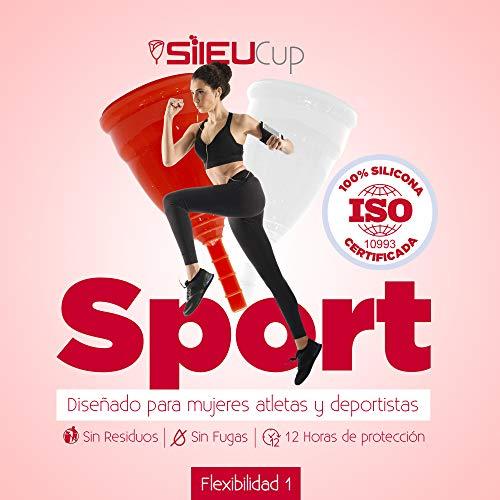 Copa Menstrual Sileu Cup Sport - Copa deportiva perfecta para deportes, pilates, yoga, piscina, baile, gimnasio - Alternativa ecológica y natural a tampones y compresas - Talla S, Transparente