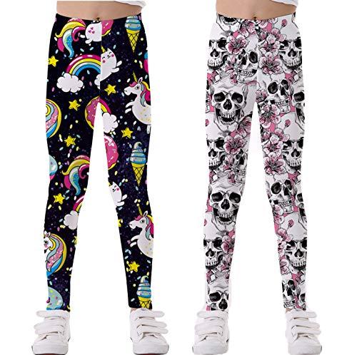Coralup Mallas elásticas coloridas para niñas pequeñas, con impresión 3D, pantalones casuales, longitud completa, 2 – 10 años Calavera+unicornio 5-6 Años