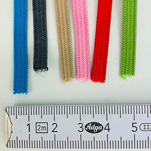 Cordon elastico de producción Europea de primera calidad de 5mm en 6 diversos colores | 12 metros goma elastica costura colores