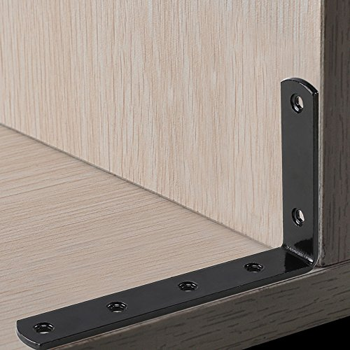Corner Brace ETSAMOR Soporte de ángulo 90 Grado forma de L 4pcs soporte de esquina 126 x 80 x 3mm espesar soporte negro para estante de carga pared colgantes con tornillos