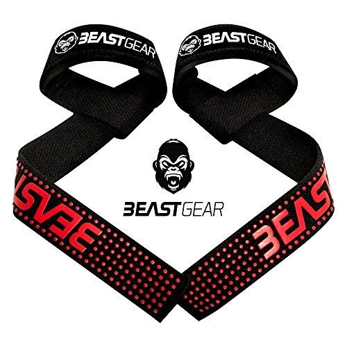 Correas Levantamiento de Pesas de Beast Gear – Correas Profesionales Acolchadas con Sujeción de Gel